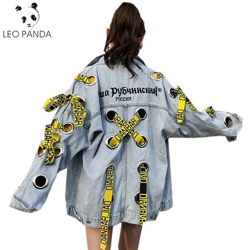 Nouveau Printemps Mode Lettre impression Denim Veste Femmes Lâche manches Longues Personnalité Bretelles Évider Jaskets Femelle Manteau C 144