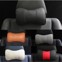 Genuine Leather Car Headrest Pillow Neck Rest Pillow Seat Cushion Covers Without Car Logo For BMW