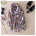 180*90cm 1PC 2016 New Arrival Flower Silk Satin Women Thin Long Scarf Summer Woman Fashion Big Thin Shawls