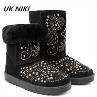 UKNIKI Rivet Women Boots Female Winter Boots Fashion Flat With Short Plush Slip On Ladies Basic