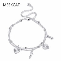 Trendy Heart and High-heeled shoes charms Anklet Bracelet Foot Jewelry 925 stamped silver plated Ankle Chain Bracelet For Women