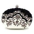 Sacos de mulheres mensageiro marca de moda novo 2016 European high-grade Preto Frisado carteira Artesanal pérola do diamante saco de noite da senhora