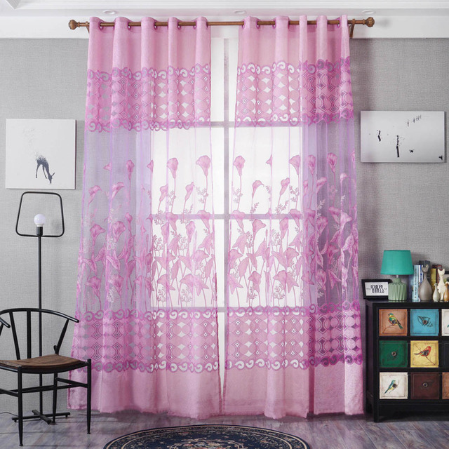 Peony Floral Tulle Sheer Curtain Door Window Screening Curtain for ...