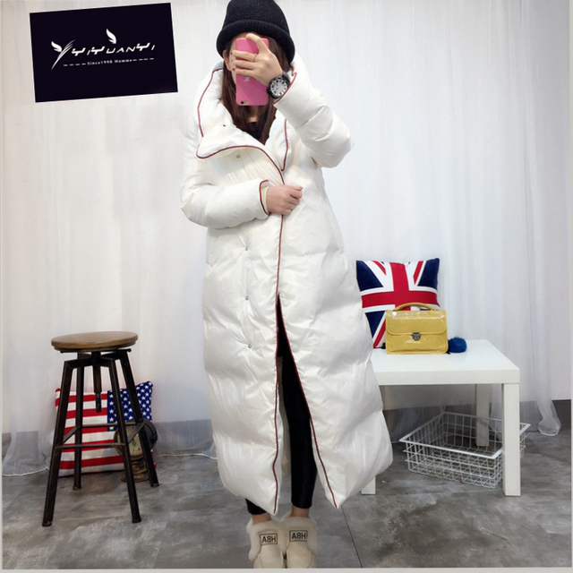 New Arrival Women's 2016 Winter Long Outerwear 90% Duck Down Coat Hood Long-Sleeved Warm Down Coat Warm Long Quilted Jacket