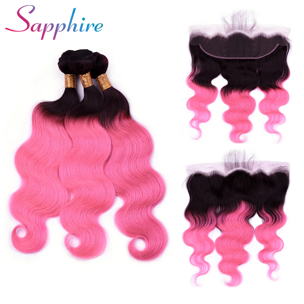 Sapphire Human Hair 3 Bundles Brazilian Body Wave with Frontal Closure 13*4 Ear To Ear Lace Frontal Closure Ombre Color TB/Pink