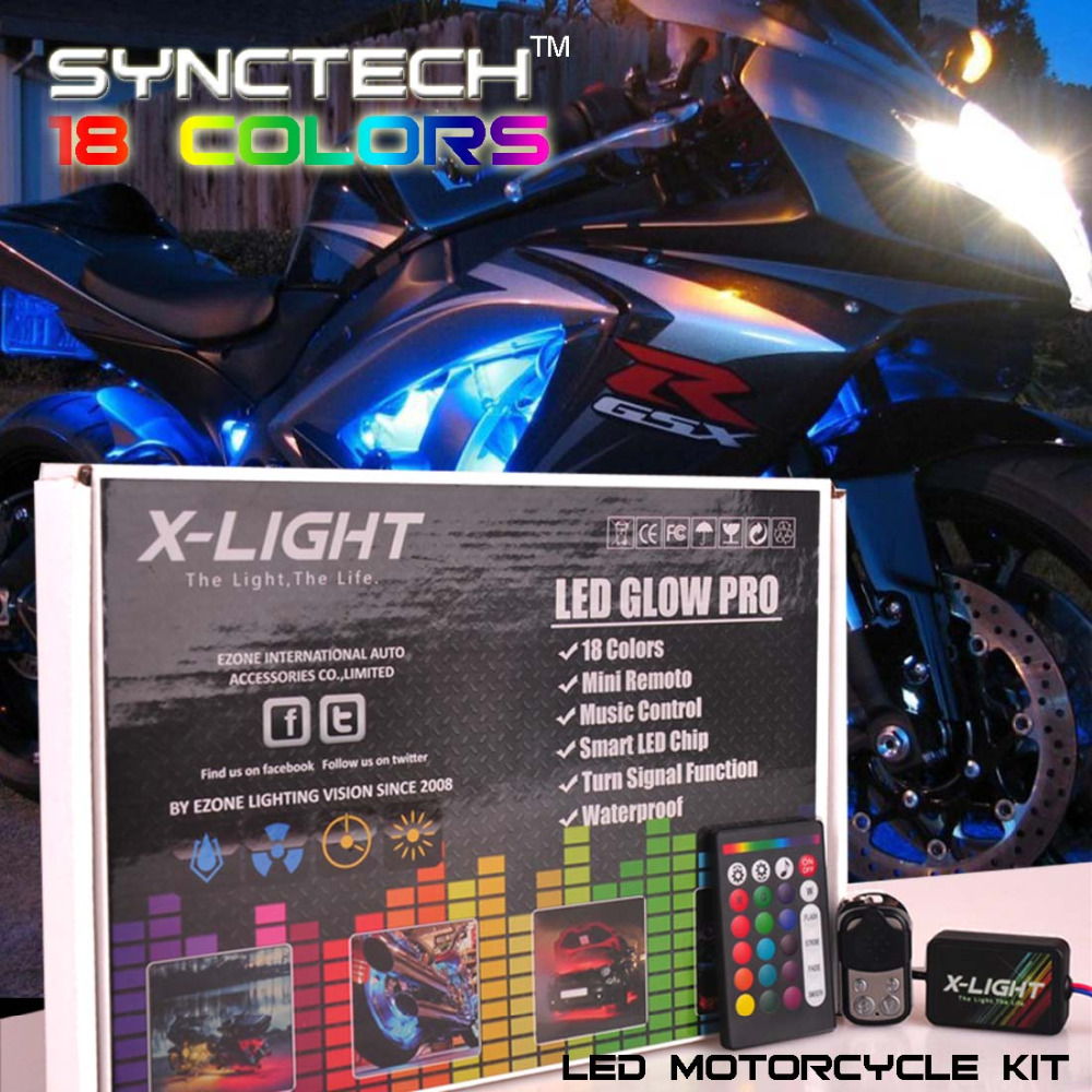 X-LIGHT 10PCS Full-Color LED Motorcycle Ground Effect Light Kit w/ Two Wireless Remote Control For all Motorcycle