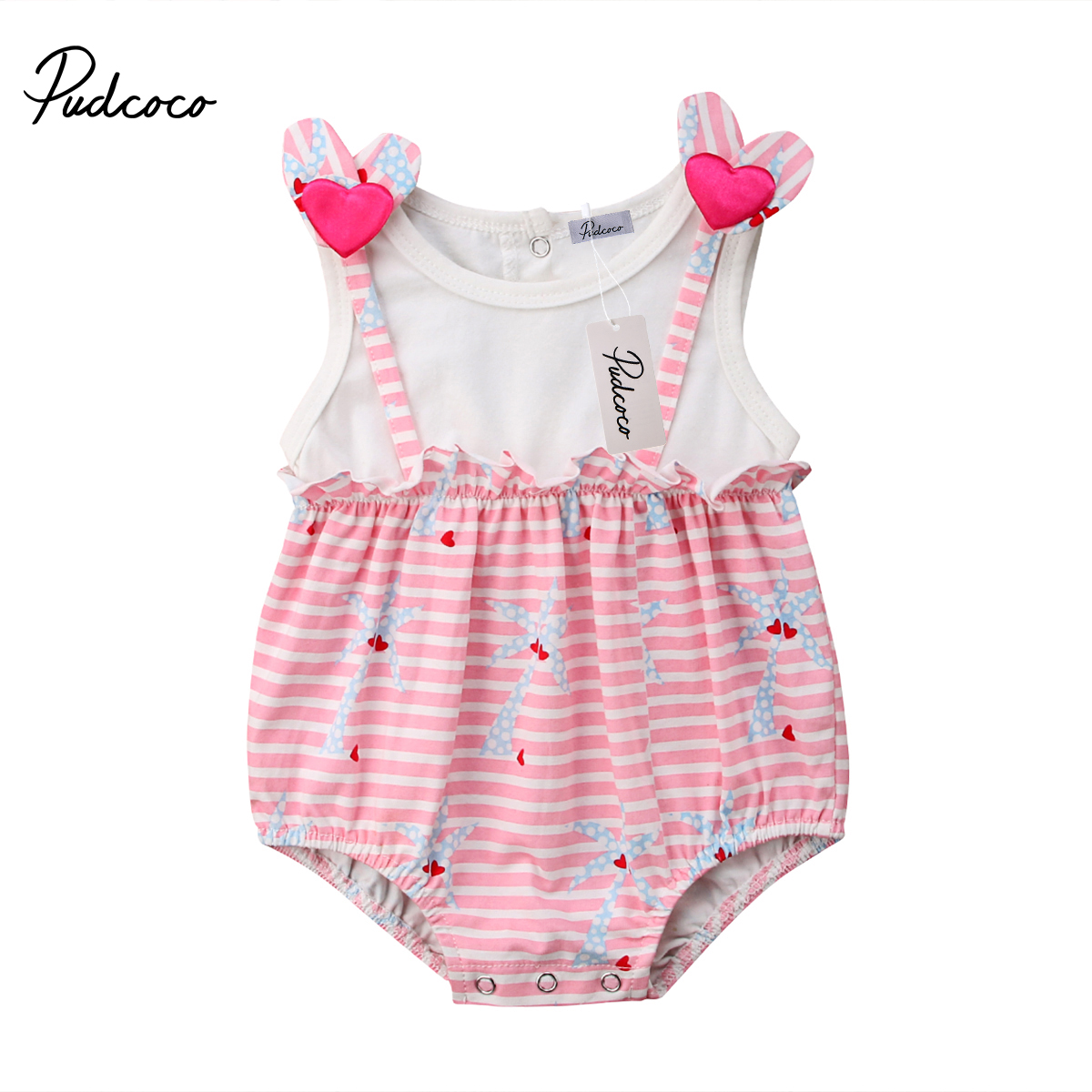 New Fashion Newborn Baby Girl Clothes Stripe   Romper   Sleeveless Jumpsuit Outfit Sunsuits Clothes