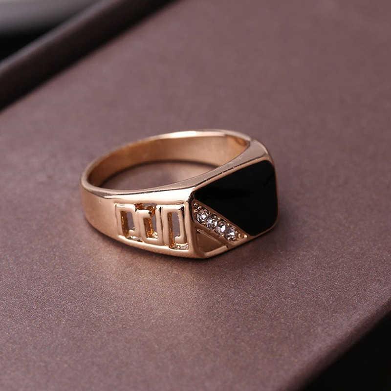 แฟชั่นชายเครื่องประดับ Gold สี Rhinestone สีดำแหวนเคลือบสำหรับ Christmas Party ของขวัญ