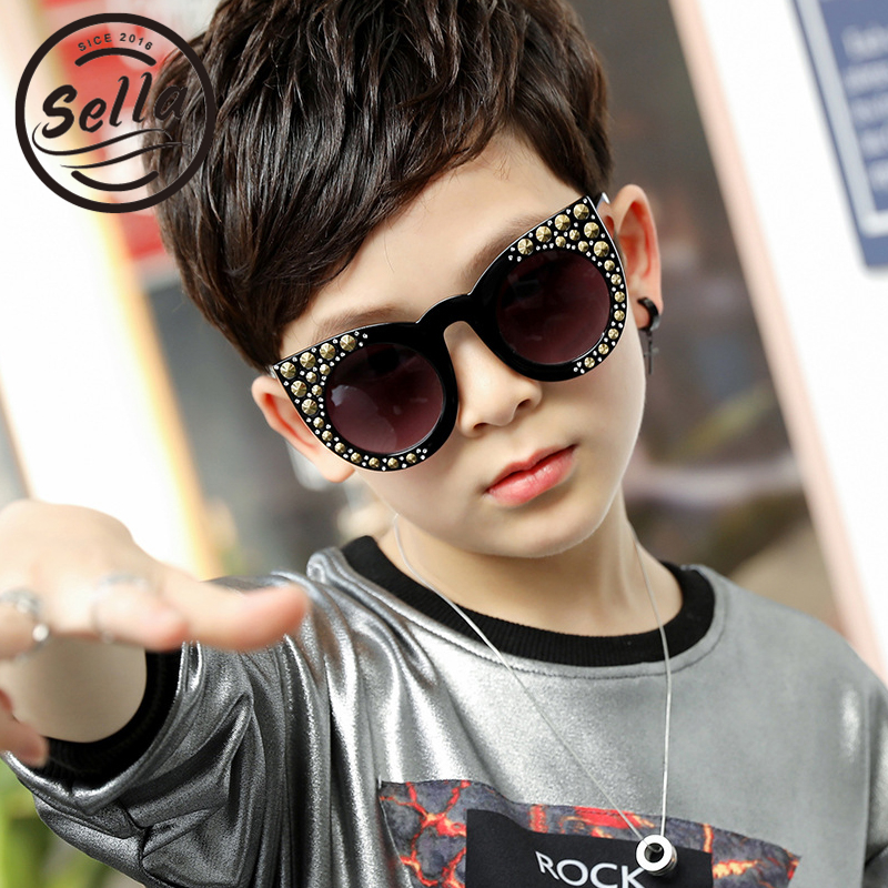 Sella 2018 New Fashion Children Cateye Sunglasses Retro Rivet Decoration Gradient Lens Cutie Girls Summer Sun Glasses Eyewear