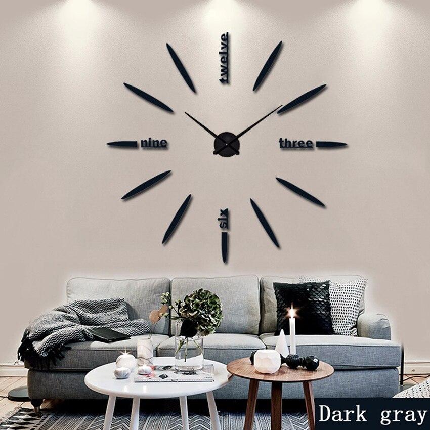 2019 New100 % rétroaction Positive Horloge Murale Acrylique Miroir En Métal Super Grand Personnalisé Numérique Mur Montres Horloges Livraison gratuite