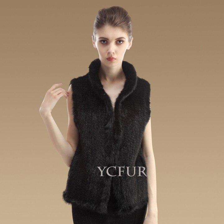 YCFUR модные женские жилеты, зимние теплые вязаные жилеты ручной работы из натурального меха норки, женский жилет из настоящей норки