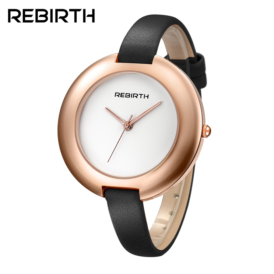 REBIRTH New Arrived Women Watches Ladies Dress Wristwatches Quartz Clock Women Leather Strap Watches montre femme reloj mujer