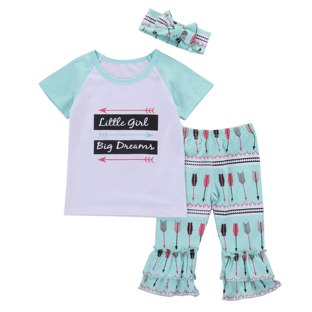 3PCS suit !! Kids Baby Girls Clothes Tops T-shirt +Ruffle Pants Trousers+hairband Outfits Set 3pcs set 2016 new floral kids baby girls clothes tops t shirt pants hairband outfits suit children clothing set