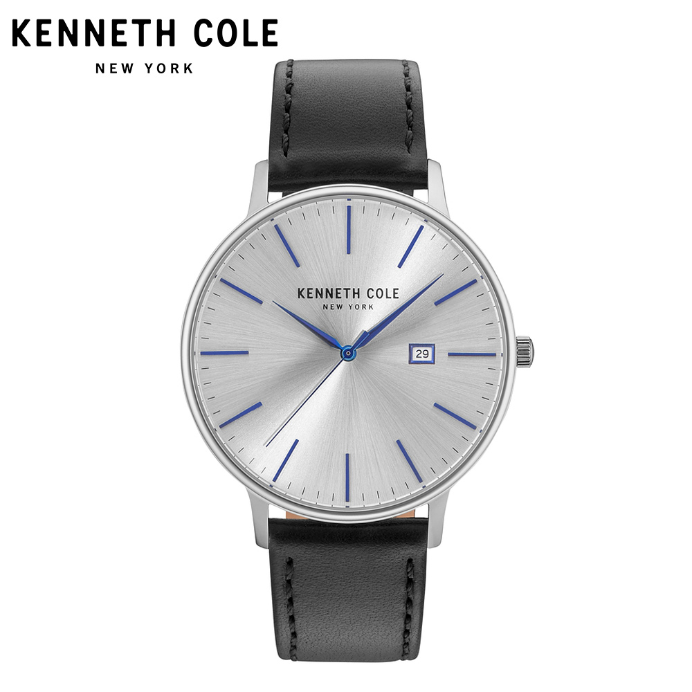 Kenneth Cole Watches For Men Quartz Leather Strap Buckle Black Silver Waterproof Mens Watches Simple Luxury Brand KC15059006 цена и фото