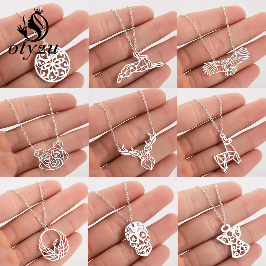 Oly2u Plant Mandala Flower Necklace Chain Chokers For Women Pendants Necklaces Stainless Steel collier femme Accessories