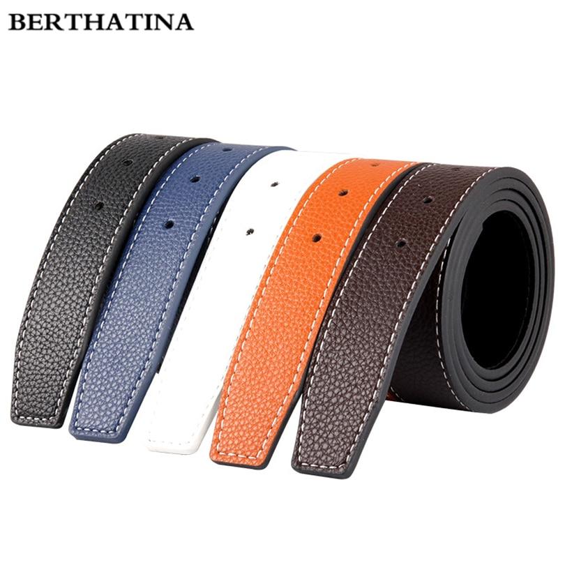 BERTHATINA Luxury No Buckle Belt Brand H Belt Men High Quality Male Genuine Real Leather Strap For Jeans SMOOTH Belt Erkek Kemer