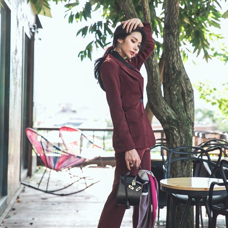 Moulant D'affaires Femelle Bureau Ensemble Pantalon Blazer Costumes D'usure Cbafu Picture Veste Color Pièces Printemps Dames D152 Femmes Manteau Automne De Travail 2 xqax7XO