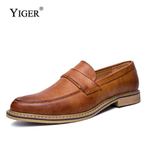 YIGER 2019 New men dress shoes slip-on Pointed Toe Man Business Leather Spring/Autumn Loafers  0122