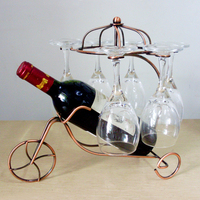 Hot Sale Multi-functional Wine Rack Home Decoration Chariot Hanging Cup Rack Ornaments Creative Metal Frame Iron Chariot Fashion