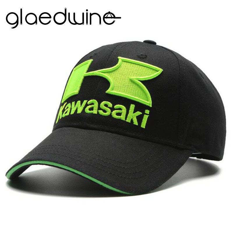 Glaedwine MEN'S FASHION HIP HOP   CAPS   Motorcycle Racing embroideried kawasaki   cap   Hat MOTOGP   baseball     cap   dad hat bone Casquette
