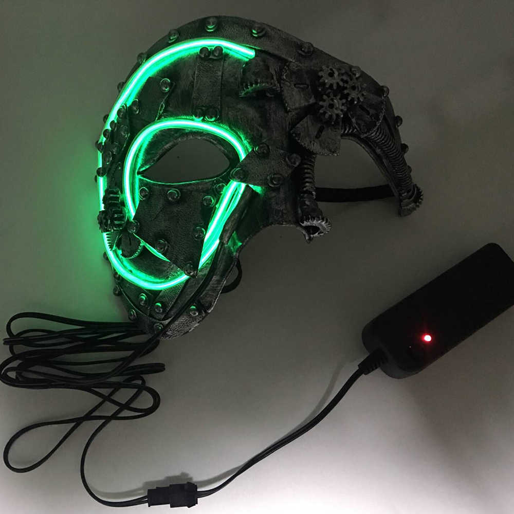 93bdb0fdfc33 Detail Feedback Questions about Led Steampunk Cosplay Mask Light Up Mask  Party Mascara Skull Half face Christmas Carnival New Year Gift Costume  Props on ...
