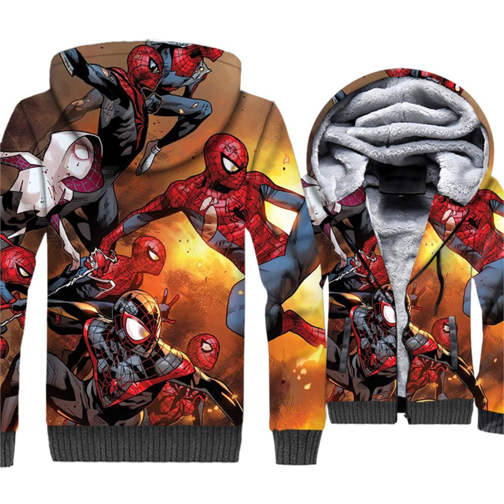 Super Hero Spider Man Jacket Men Hoodie Movie Hooded Sweatshirt Winter Thick Fleece Warm Zipper 3D Print Coat Funny Sportswear