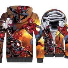 Super Hero Spider Man Jacket Men Hoodie Movie Hooded Sweatshirt Winter Thick Fleece Warm Zipper 3D Print Coat Funny Sportswear цена и фото