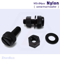 M3 6mm 25mm 7 Kinds 28pcs High Precision Plastic Slotted Screw Nylon Knurled Screws With Nut