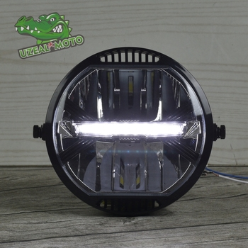 Universal Motorcycle Modern retro style modification LED headlight driving light CR150 6 5inch universal retro motorcycle modification led headlight lamp with guard cover yellow driving light gn125 250