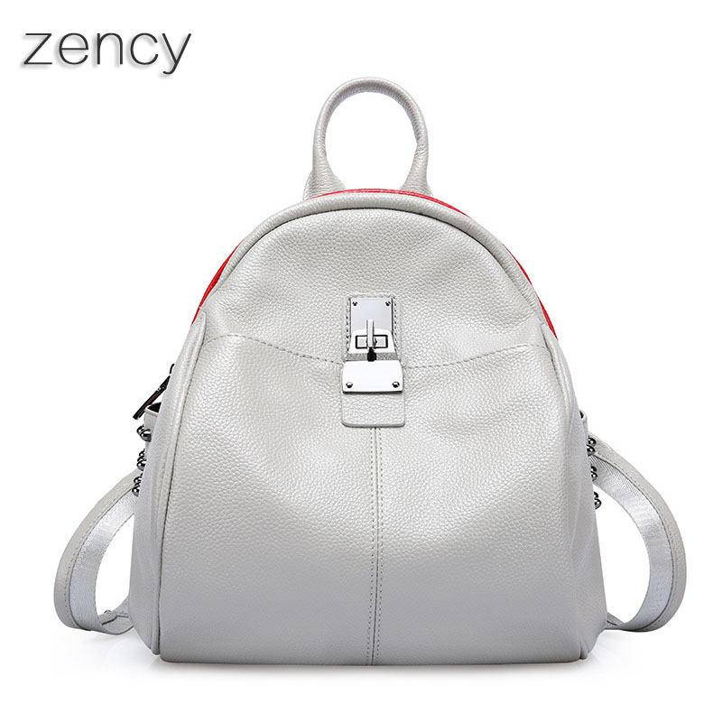 Zency Woman Leather Backpack Genuine Leather Women's Backpacks Ladies Girl's School Bag Real Cowhide Mochila zency fashion leather backpack real natural genuine leather women backpacks ladies girl school bag top layer cowhide mochila