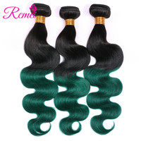 Rcmei Ombre Human Hair 3 Bundles Deal Brazilian Body Wave Pre Colored T1B/Green Bundles Pack Two Tone Hair Weave Dark Roots Weft