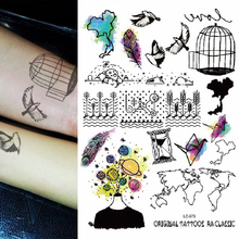 1sheet Multi-style 25models Trendy Temporary Tattoos World Map Birds Birdcage Feather Arm Tattoo Sticker Colored Tatuagem