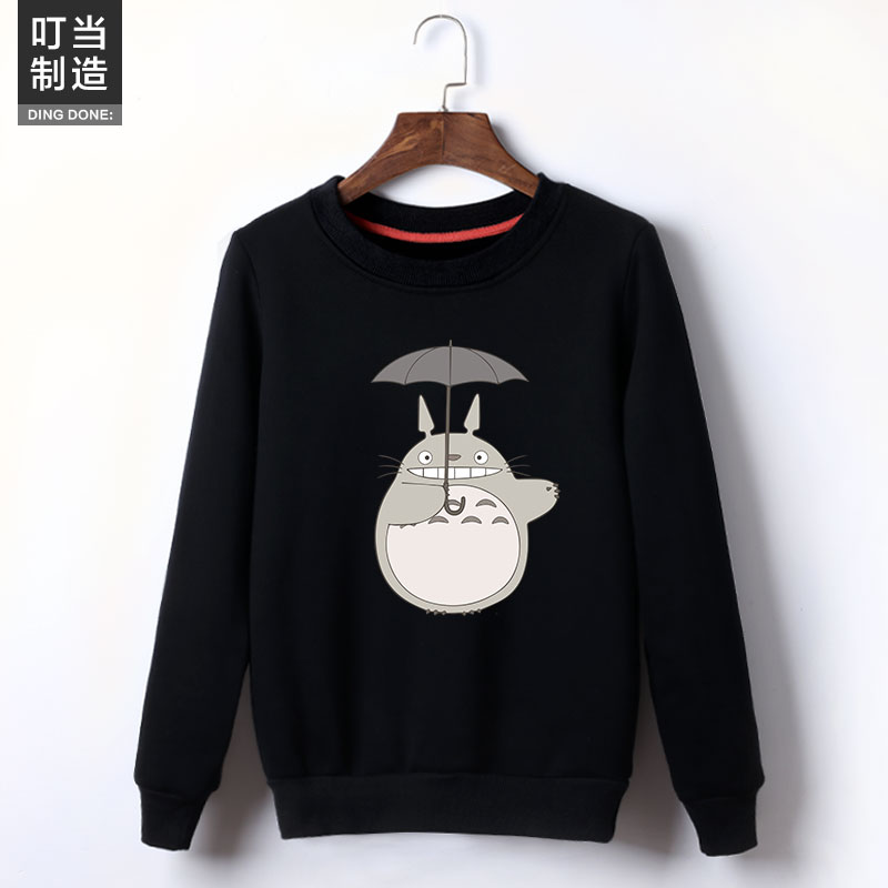 The Winter Students Totoro Printing Fleece More Womens Clothing Han Edition Set Of Head And Hair Loose Coat