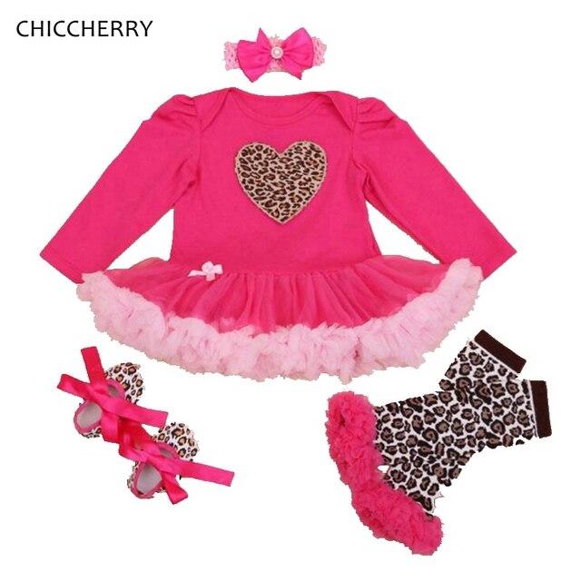 Сердце Детская Кружева Пачка Платье Валентина Подарок Наряды Новорожденный Пачка Устанавливает Оголовье Вязаные Гамаши Vestido Bebe Leopard Baby Girl Одежда