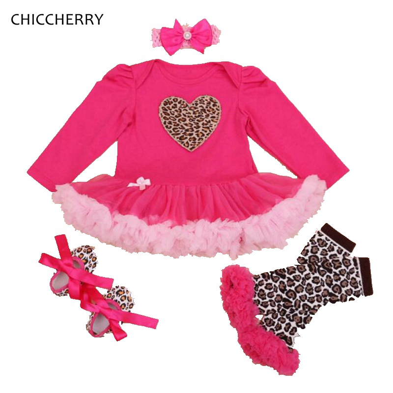 heart infant lace tutu dress valentine gift outfits newborn tutu sets headband legwarmers vestido bebe leopard baby girl clothes in clothing sets from