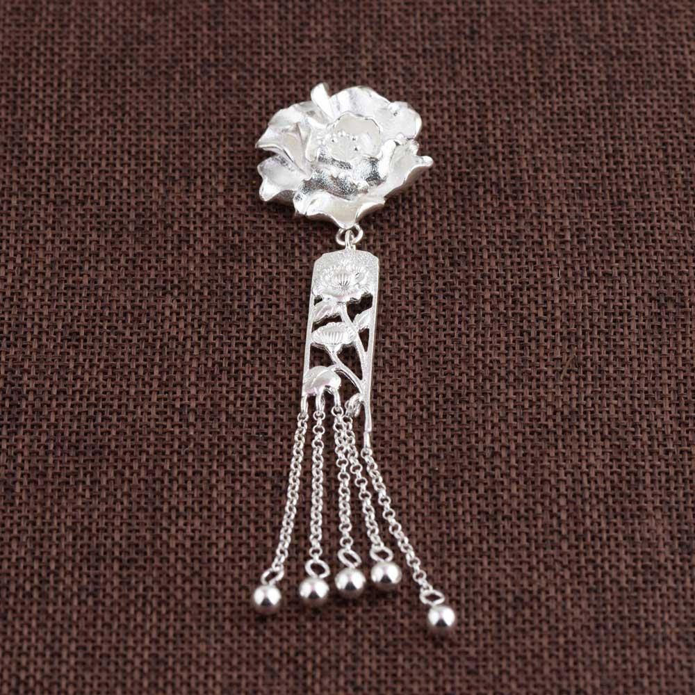 FNJ 925 pendentif fleur en argent Rose nouvelle mode Pure Original S990 Thai argent pendentifs femmes pour la fabrication de bijoux
