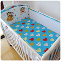 Promotion! 5PCS Mesh Mickey Breathable Mesh baby bedding set cartoon baby crib set Bumper,include(4bumpers+sheet)