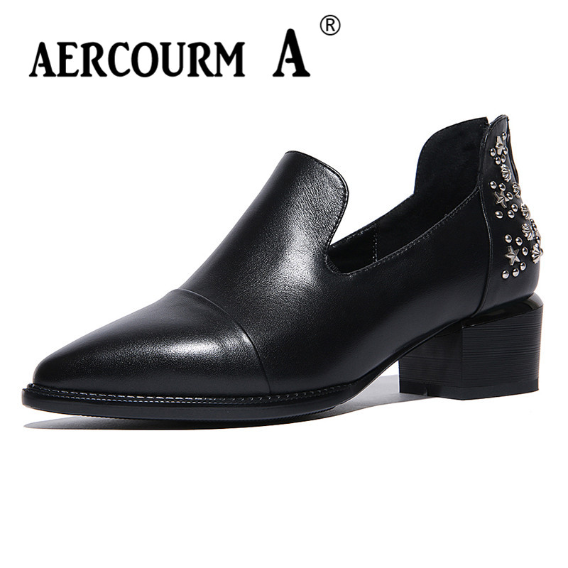 Aercourm A Women Black Pumps 2018 Spring High Heels Shoes Woman Shoes Genuine Leather Square Head Rivet Pointed Shoes DTN8-1 aercourm a women black pumps 2018 spring high heels shoes woman shoes genuine leather square head rivet pointed shoes dtn8 1