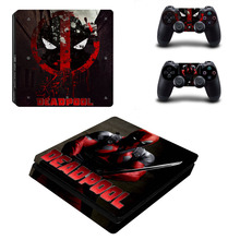 DeadPool PS4 Slim Sticker For Sony Playstation 4 Slim Console+2 controller Skin Sticker For PS4 S Skin
