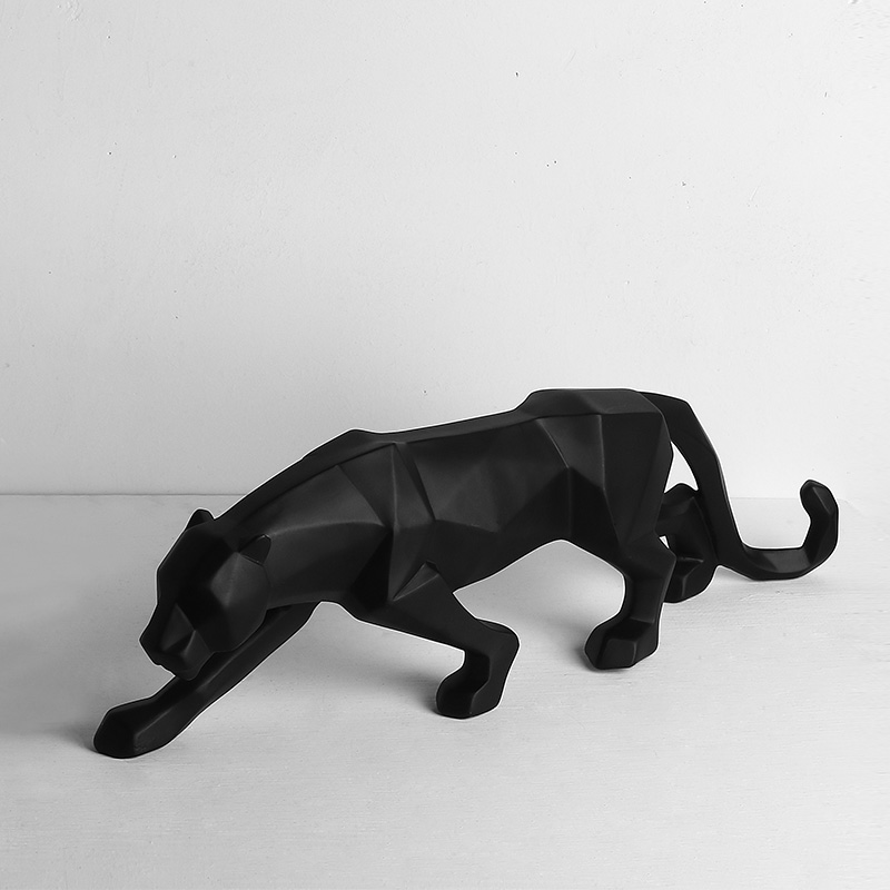 Modern Abstract Black Panther Sculpture Geometric Resin Leopard Statue Wildlife  1