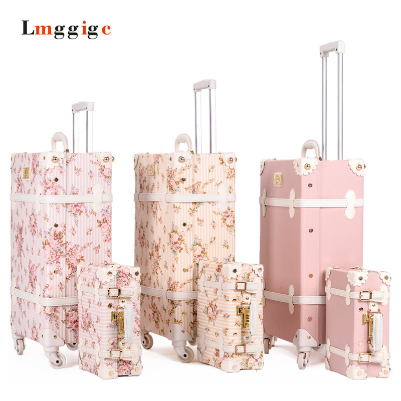 """20""""22""""24""""26""""inch Vintage Trolley Luggage,PU Leather Suitcase Travel bag,Women universal wheels Carrier ,High quality Carry-Ons,"""