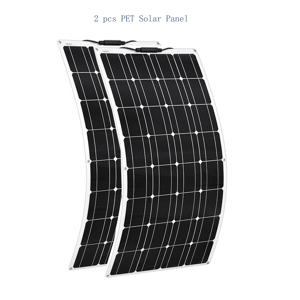 2pcs 12V 100W Flexible Solar Panel Charger 24v Mono 200w Solpanel Lightweight Connector Charging RV Boat