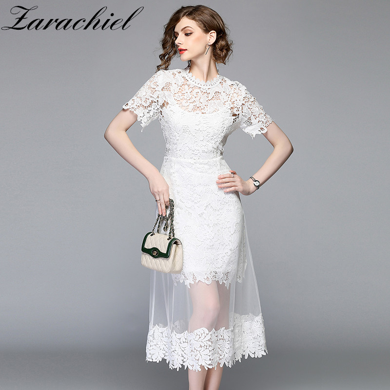 5b44d7f7f ᗔ Buy white long lace women dress plus size and get free shipping ...