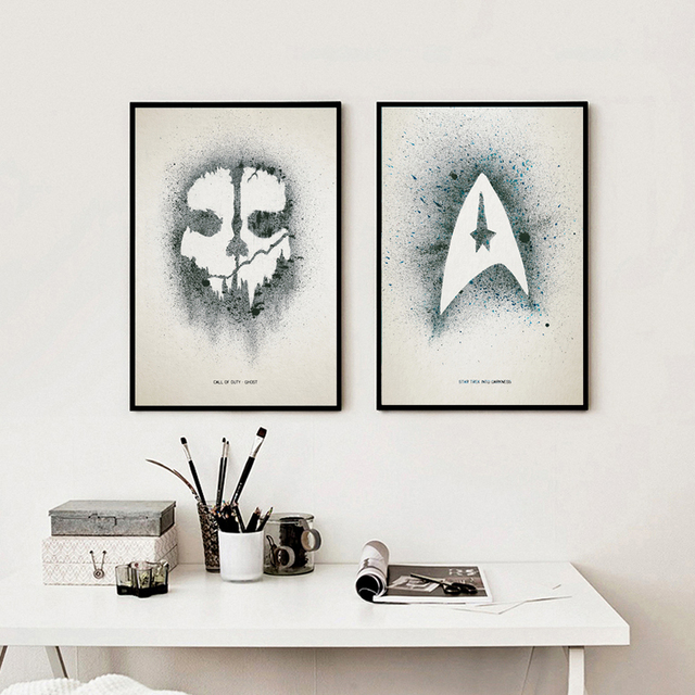 Watercolor Splashing Arts Modern Game Movie Call of Duty Star Trek A4 Print Canvas Painting Art Posters Wall Decorations