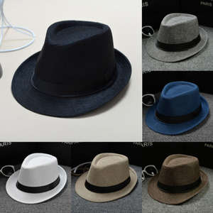 cd32d74e5c1 Unisex Straw Sun Panama Trilby Mens Ladies Hats Cap Fedora