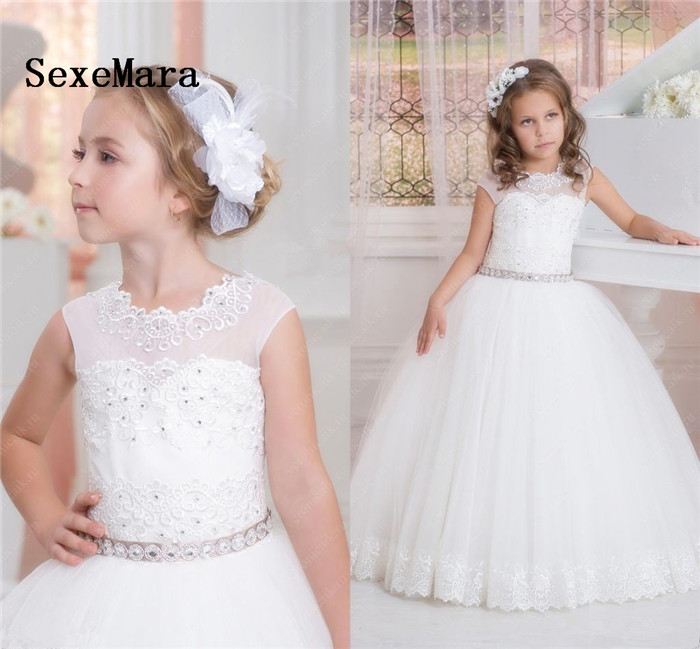 Beautiful White Flower Girls Dresses Beaded Lace Appliqued with Sash Pageant Gowns for Kids Wedding Party Gown Communion Dress azdent top spa dental flosser oral irrigator faucet water jet floss tooth cleaner replacement nozzle tips for oral teeth whiten