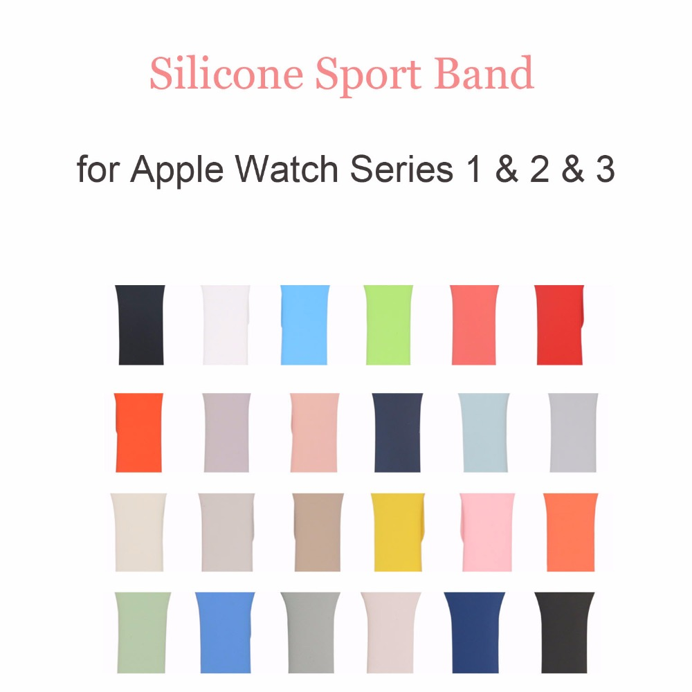 22 Colors Sport Silicone Band for Apple Watch Band Series 1 2 3 Silicone Strap Bracelet for iWatch 38mm 42mm Watchband 6 colors luxury genuine leather watchband for apple watch sport iwatch 38mm 42mm watch wrist strap bracelect replacement