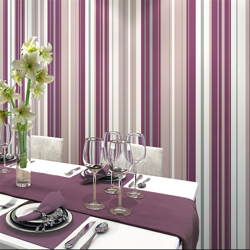 Simple And Clean Modern Wallpaper Nordic Style Papel De Parede Living Room Study Bedroom Purple Red Vertical Stripes Wall Paper