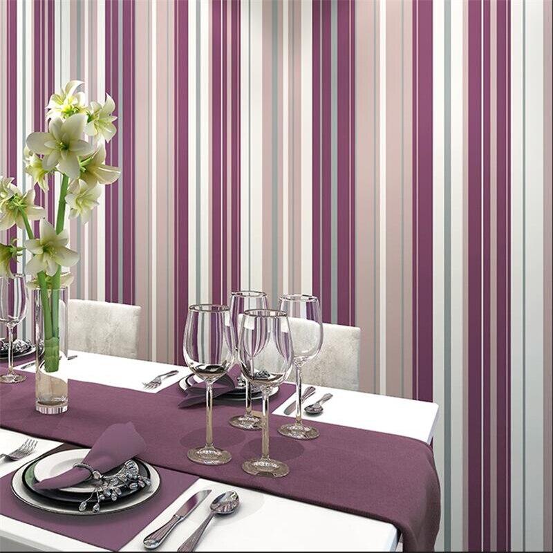 Simple et propre moderne papier peint style Nordique papel de parede salon étude chambre pourpre rouge rayures verticales papier peint