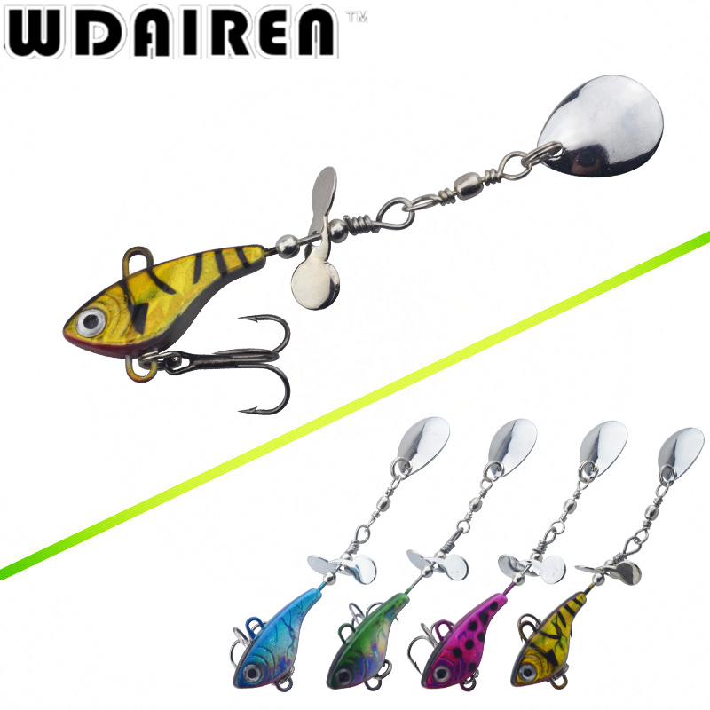 WDAIREN Hot Sale Metal Spinner Spoon 11.5g VIB Hard Bait Fish Treble Hook Perch Fishing Lures Tackle Vibration Hard Bait WD-025 wldslure 1pc 54g minnow sea fishing crankbait bass hard bait tuna lures wobbler trolling lure treble hook